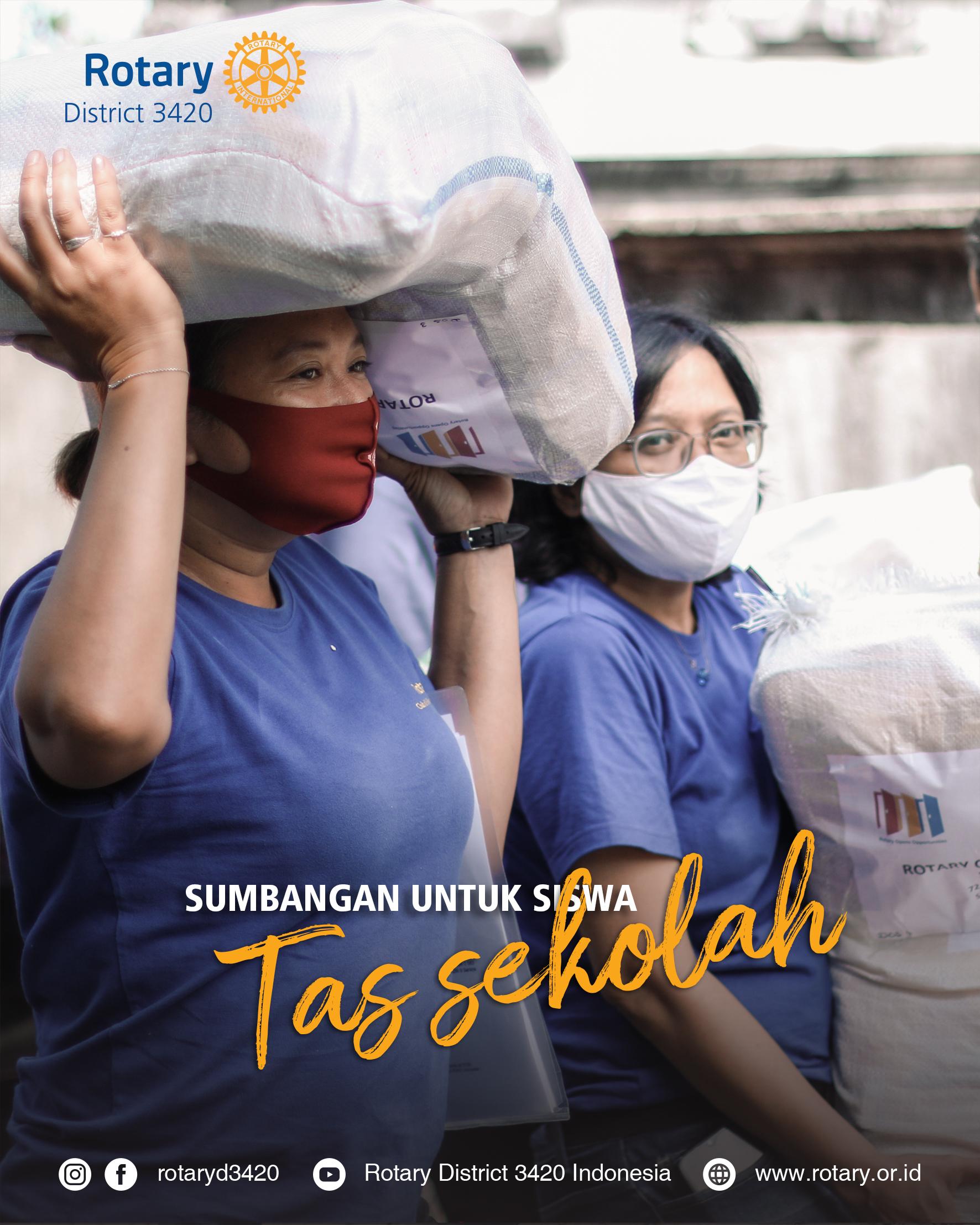 Distribusi Tas Sekolah dan Alat Tulis oleh Rotary Club of Bali Kuta – District Grant#2091015