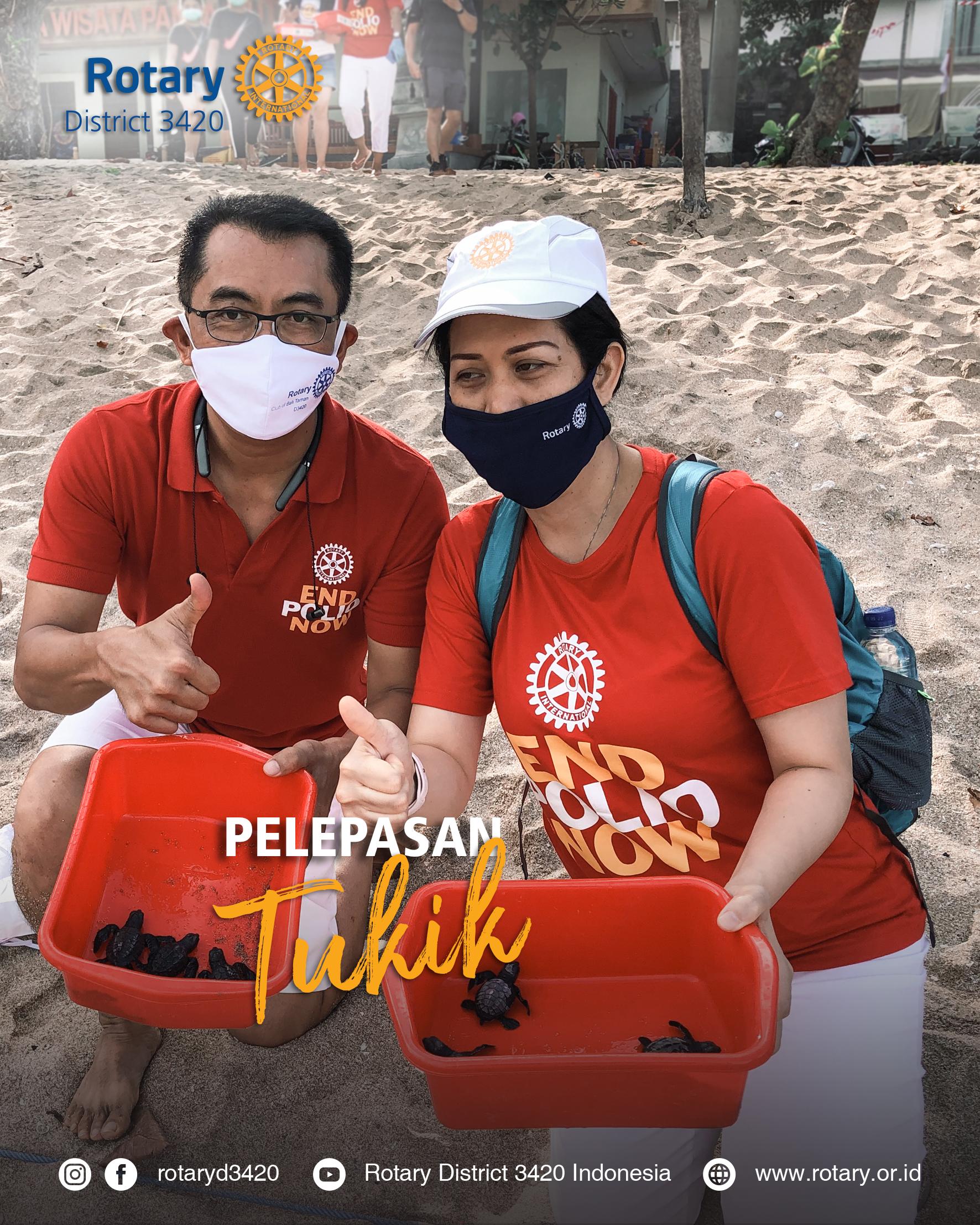 Pelepasan Tukik oleh Rotary Bali Kuta