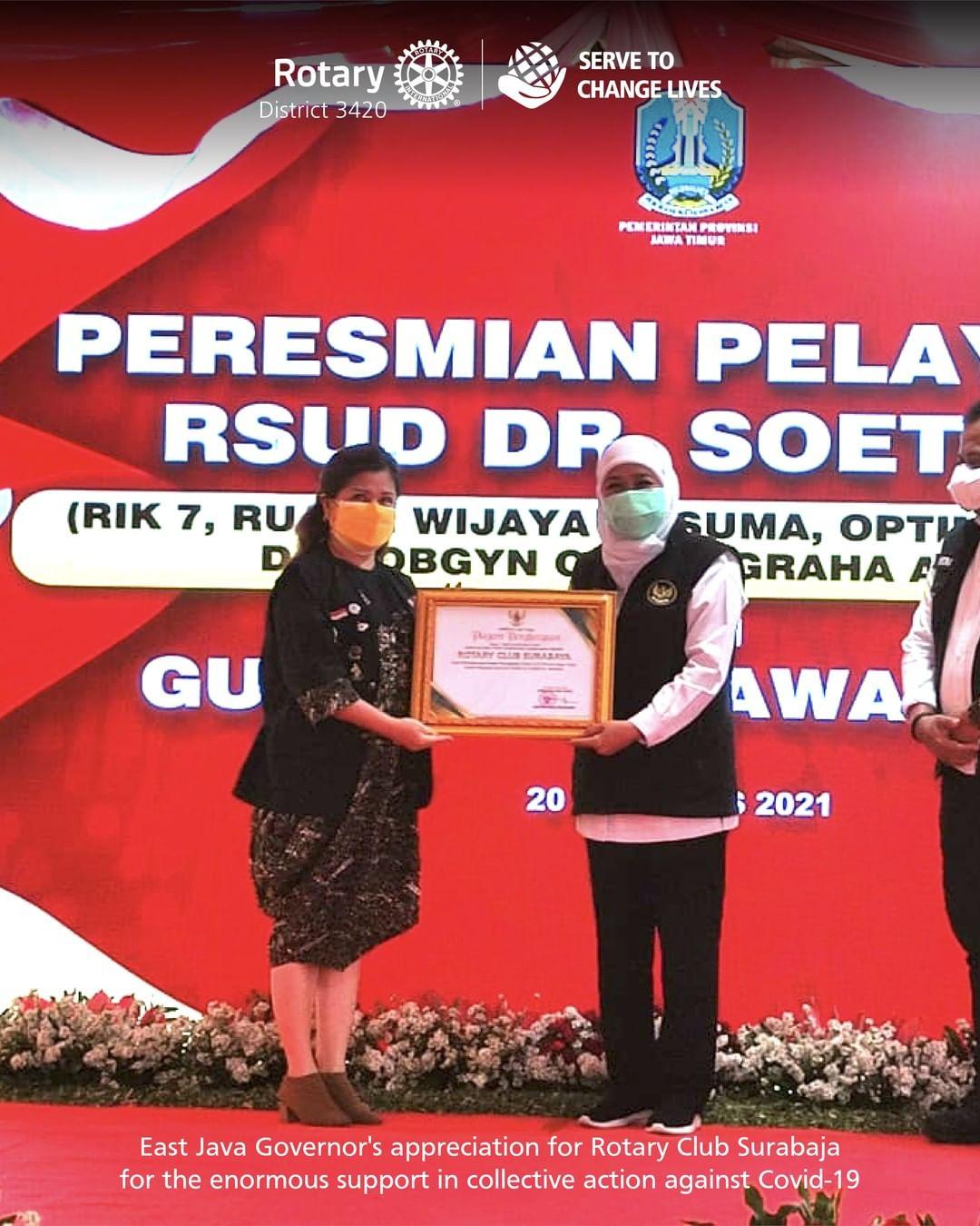 Apresiasi dari Pemerintah Jawa Timur untuk Rotary Surabaja