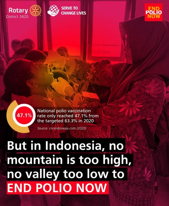 But in Indonesia, No mountain is too high, no valley too low to End Polio Now